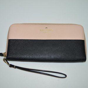 Kate Spade Saffiano Large Zip Around Wristlet Wallet Pink/Black